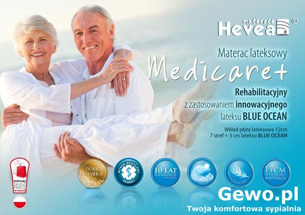 Materac lateksowy rehabilitacyjny antyalergiczny Hevea family Medicare plus