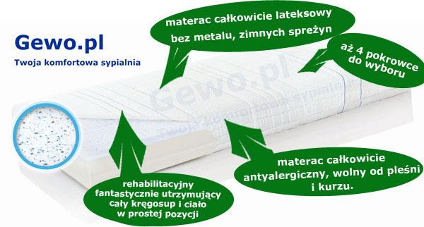 Materac do spania Hevea family Medicare plus lateksowy rehabilitacyjny antyalergiczny + Mega Gratisy