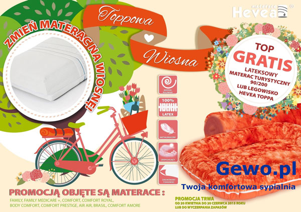 Materac lateksowy antyalergiczny Dualsleep Hevea Fitnes Amore 160x200 cm