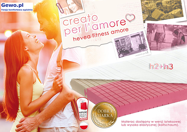 Materac lateksowy rehabilitacyjny antyalergiczny Dualsleep Hevea Fitnes Amore 160x200 cm