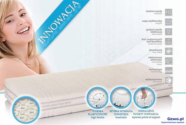 Materac do spania Hevea Brasil lateksowy rehabilitacyjny antyalergiczny + Mega Gratisy