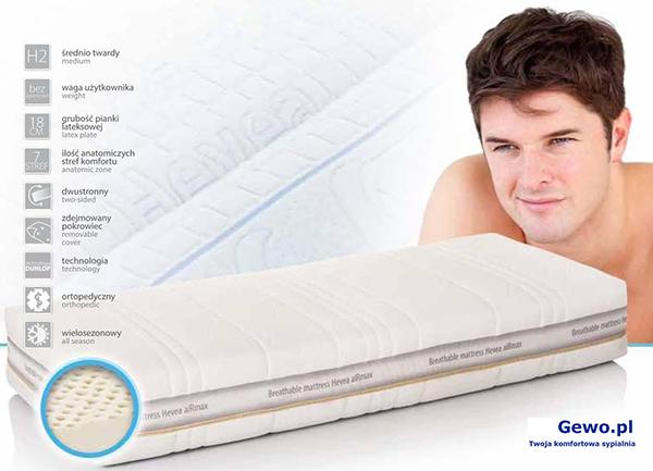 Materac do spania Hevea Comfort Royal lateksowy rehabilitacyjny antyalergiczny + Mega Gratisy