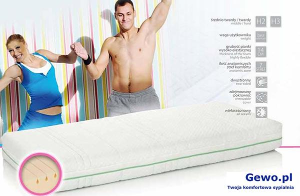 Materac do spania Hevea Fitness Cosmo wysokoelastyczny lateksowy rehabilitacyjny antyalergiczny + Mega Gratisy
