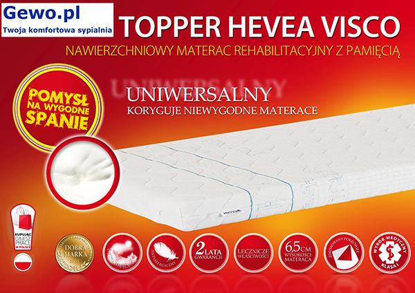 Materac Hevea Topper Visco nawierzchniowy rehabilitacyjny antyalergiczny
