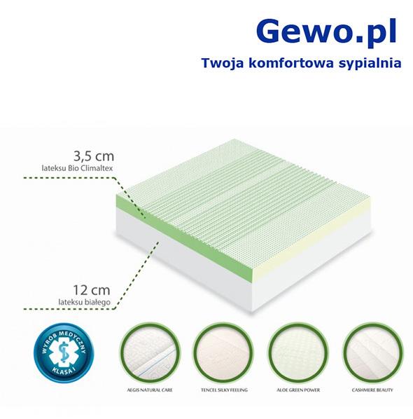 Materac do spania Hevea Family Medicare Bio Climalateks lateksowy rehabilitacyjny antyalergiczny + Mega Gratisy